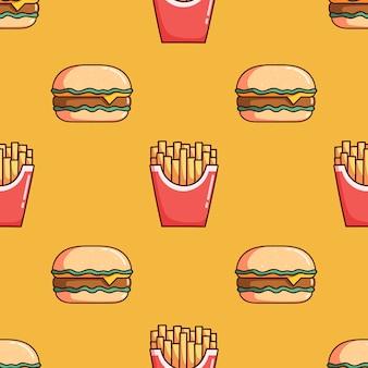 落書きスタイルのハンバーガーとフライドポテトのシームレスなパターン