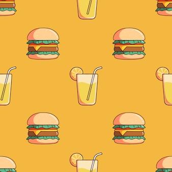 落書きスタイルのハンバーガーとレモンジュースのシームレスなパターン