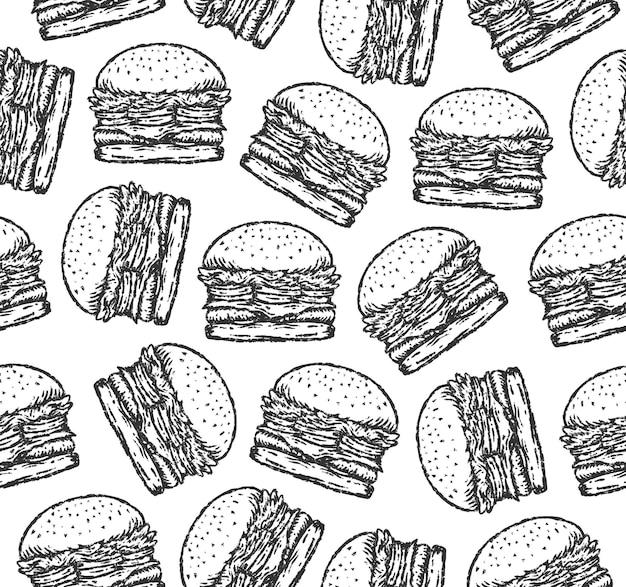 ペイントブラシ描画スタイルのハンバーガーイラストのシームレスなパターン。