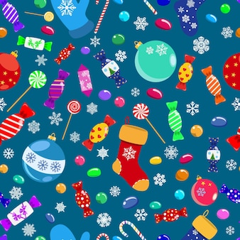 キャンディー、キャンディー、お菓子、クリスマスボール、靴下のシームレスなパターン