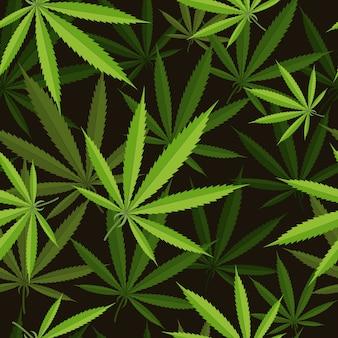 大麻の葉のシームレスなパターン。