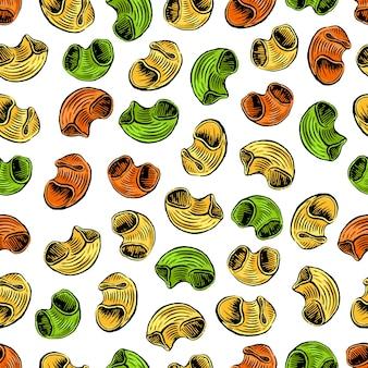カネロニパスタのシームレスなパターン。手描きイラスト