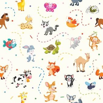 漫画動物のシームレスなパターン