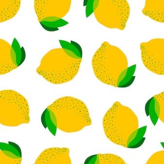 Бесшовный фон из мультяшных лимонов и листьев