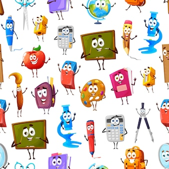 Бесшовный фон из персонажей мультфильма школы