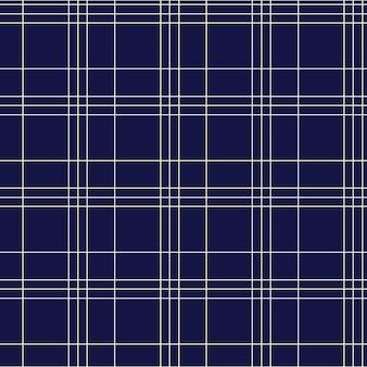 白い幾何学的な線と紺色の市松模様のタータンのシームレスなパターン