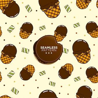Бесшовный фон из шоколадного мороженого