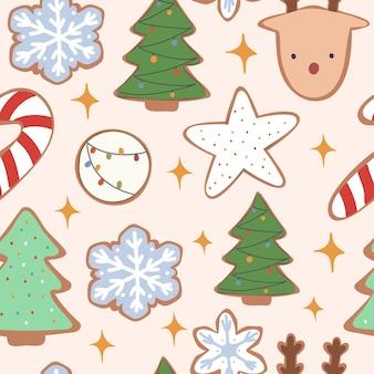 クリスマスと新年のクッキーのシームレスなパターン。ベクトル手描きイラスト。漫画のスタイル。フラットなデザイン