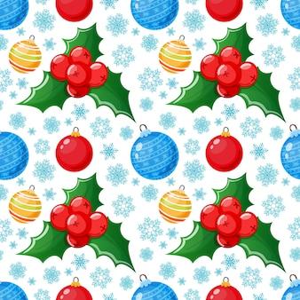 クリスマスアイコンのシームレスなパターン。包装紙や装飾のためのカラフルな漫画のクリスマスの背景