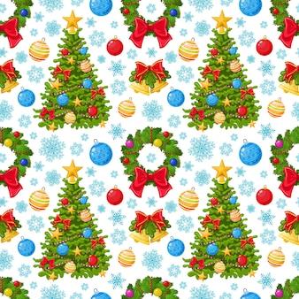 クリスマスアイコンのシームレスなパターン
