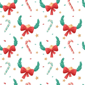 白い背景の上のクリスマスの孤立したアイコンのシームレスなパターン。冬の休日のシンボル。キャンディケインと弓と葉の花輪