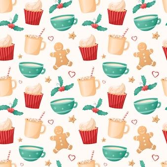 白い背景の上のクリスマスの孤立したアイコンのシームレスなパターン。冬の休日のシンボル。ホットココアまたはコーヒーとおいしいジンジャーブレッドクッキーが入ったカップとマグカップ。新年の背景の装飾。