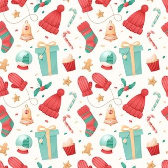 白い背景の上のクリスマスの孤立したアイコンのシームレスなパターン。
