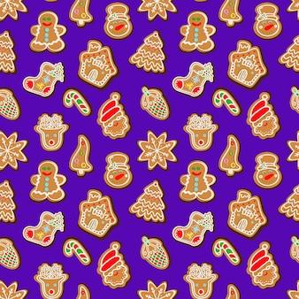 Бесшовный фон из рождественских сладостей и пряников векторные иллюстрации
