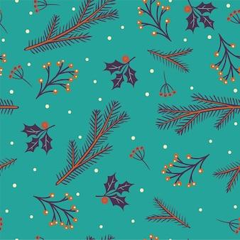 クリスマスツリーの枝のシームレスなパターン