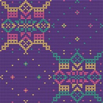 クリスマスの醜いセーター、紫の背景のシームレスなパターン