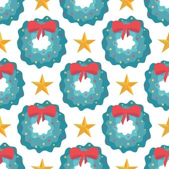 赤い弓と白い背景の上の星とクリスマスリースのシームレスなパターン