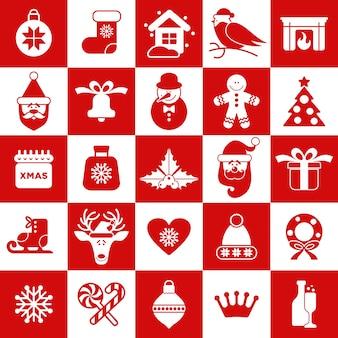 クリスマスのアイコンのシームレスなパターン