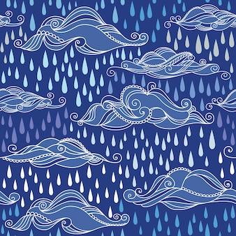 青い空の雲のシームレスなパターン