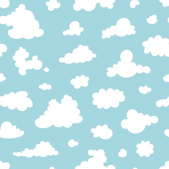Бесшовный фон из облаков на голубом небе. шаблон.