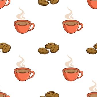Бесшовный фон из чашки кофе с кофейными зернами в стиле каракули