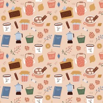 コーヒー間欠泉コーヒーメーカーの甘いキャンドルと植物のシームレスなパターンは、ビージの背景に落ちる...
