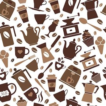 コーヒーアイコンのシームレスなパターン