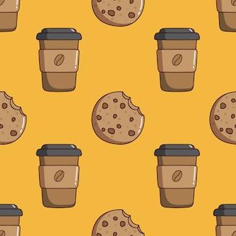 落書きスタイルのコーヒー紙コップとクッキーのシームレスなパターン