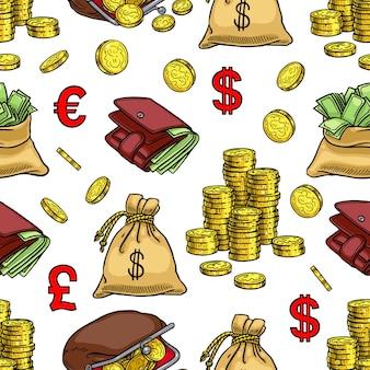 Бесшовный фон из монет, денег, финансов. рисованная иллюстрация