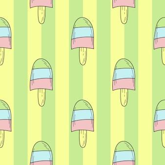 Бесшовный фон цвета рисованной мороженого для дизайна. бесконечный узор на зеленом полосатом фоне для печати, текстиля, упаковки, меню