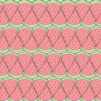 디자인에 대 한 색상 손으로 그린 수 박의 완벽 한 패턴 프리미엄 벡터