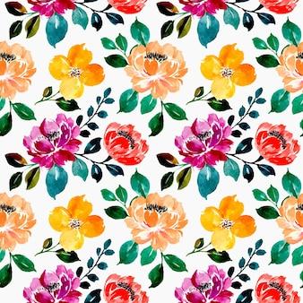 黒の背景にカラフルな花柄の水彩画のシームレスなパターン
