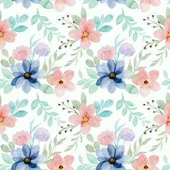 カラフルな花柄の水彩画のシームレスなパターン