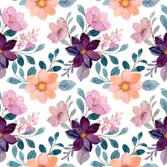 수채화와 화려한 꽃의 완벽 한 패턴