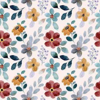 カラフルな花柄と水彩画のシームレスなパターン