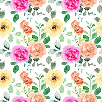 カラフルな花と水彩のシームレスなパターン