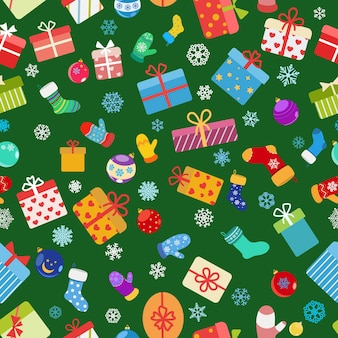 Бесшовный фон из красочных подарочных коробок, носков, варежек и новогодних шаров