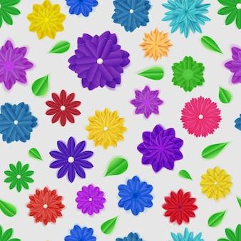 Бесшовный фон из красочных бумажных цветов с тенями