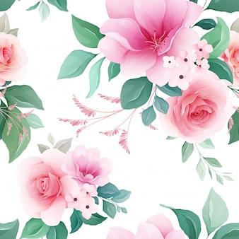 カラフルな桜とバラの花、枝、芽のシームレスパターン
