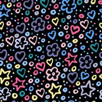 흰색 배경에 라일락, 노란색, 파란색의 화려한 별, 꽃, 하트의 원활한 패턴