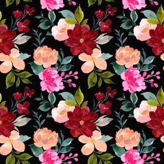 黒の背景にカラフルな水彩花のシームレスなパターン