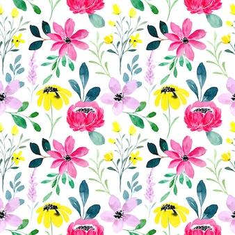 カラフルな野生の花の水彩画のシームレスなパターン