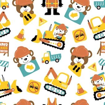 재미있는 동물과 건설 차량 만화의 완벽 한 패턴