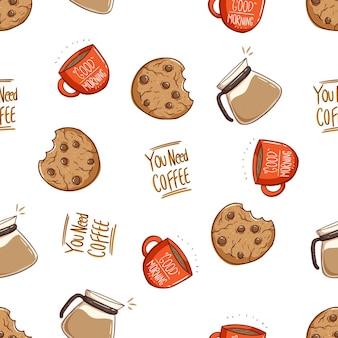 クッキーのシームレスなパターンと手描きスタイルのコーヒー1杯