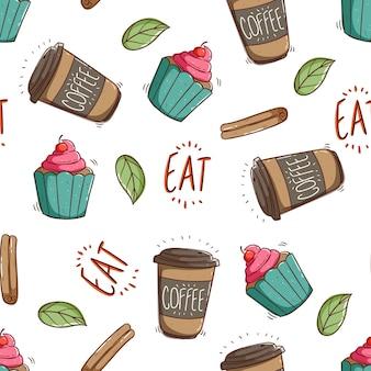 落書きスタイルのカップケーキとコーヒーの紙コップのシームレスなパターン