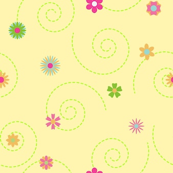 Бесшовный фон из кудрей и цветов различных цветов и форм