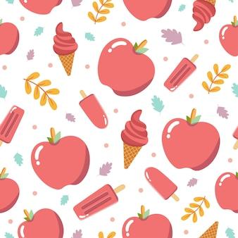 リンゴの果実とかわいいリンゴのアイスクリームのシームレスなパターン
