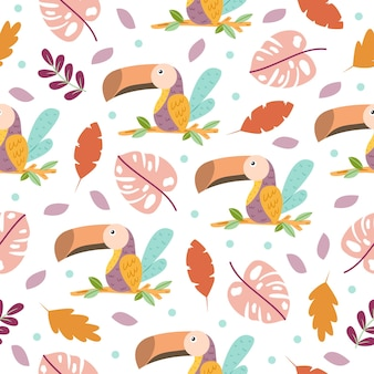 かわいい大きな口の鳥オオハシ漫画のシームレスなパターン