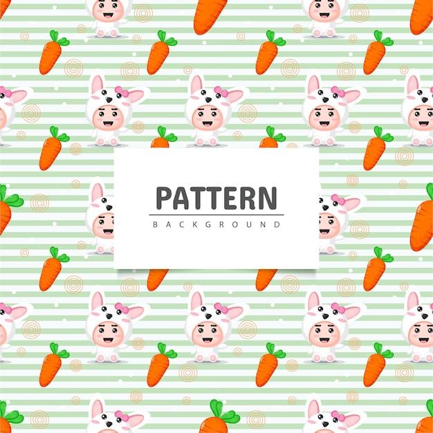 かわいいウサギとニンジンのシームレスなパターン