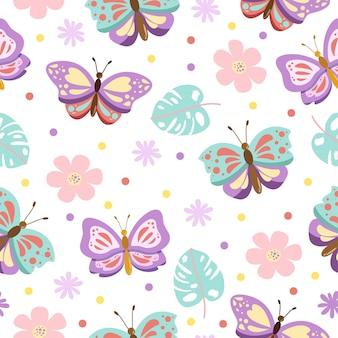 花とかわいい蝶の漫画のシームレスなパターン